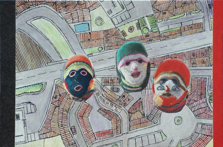 294 Trois têtes masquées 61x92 - 2011 (2)